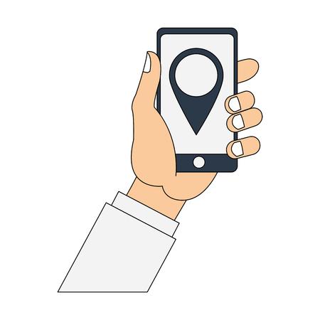 Hands using smartphone to find location vector illustration graphic design Illustration
