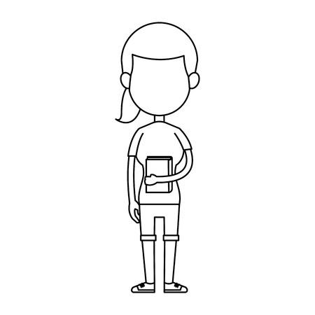 School girl with book cartoon vector illustration graphic design.