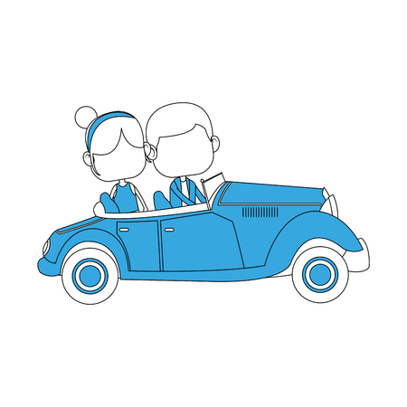 Cute boy with girl driving vintage car vector illustration graphic design
