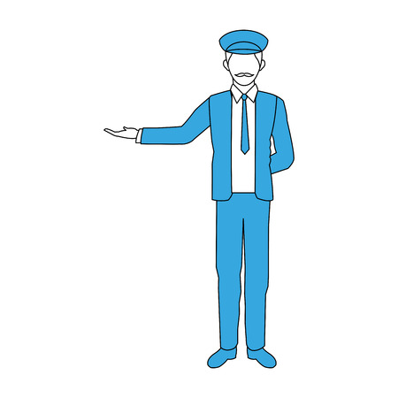 Taxi driver welcoming a passenger cartoon vector illustration graphic design Illustration
