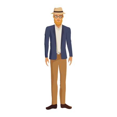 Hipster fashion man cartoon vector illustration graphic design. Illustration