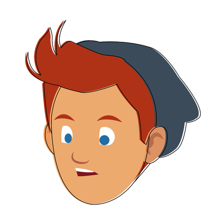 Man face cartoon with accesory vector illustration graphic design Illustration