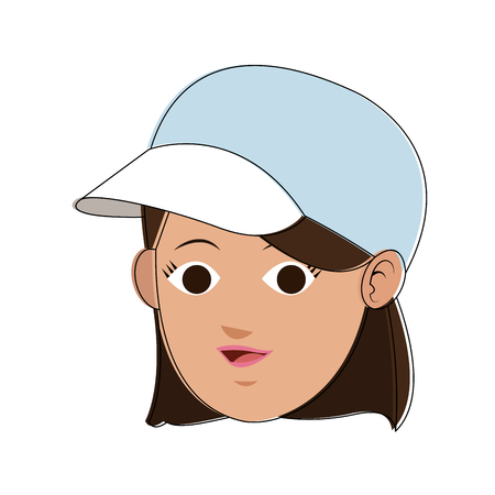 Woman face cartoon with accesory vector illustration graphic design Illustration