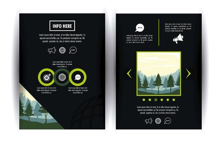 Progettazione grafica dell'illustrazione info-grafica dell'opuscolo della foresta.