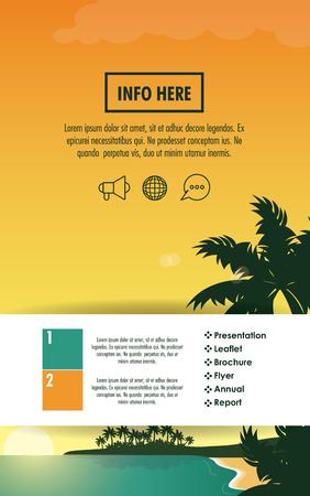 Progettazione grafica dell'illustrazione info-grafica dell'opuscolo di viaggio e della spiaggia.