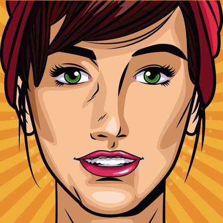 Fashion womens pop art cartoon vector illustration graphic design.
