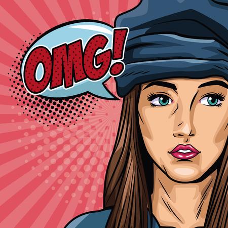 Woman with bubbles pop art vector illustration graphic design. Illustration