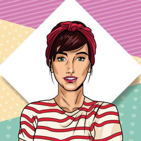 Fashion woman pop art cartoon vector illustration graphic design Illustration