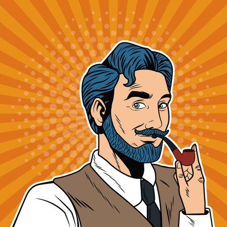 Businessman with tobacco pipe vector illustration graphic design Illustration