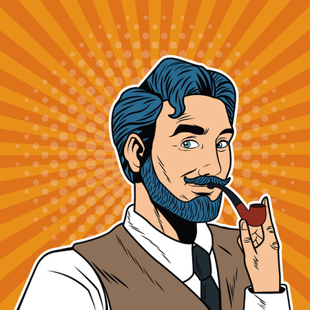Businessman with tobacco pipe vector illustration graphic design Vettoriali