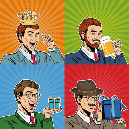 Businessmens pop art cartoons vector illustration graphic design Illustration