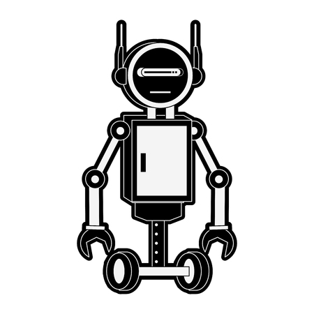 Funny robot cartoon vector illustration graphic design