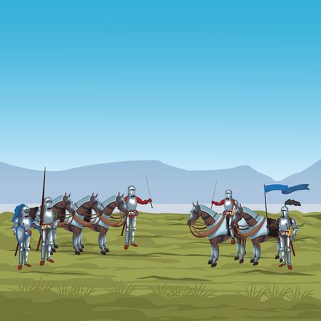 Middeleeuwse strijders op grafisch ontwerp van de oorlogs het vectorillustratie