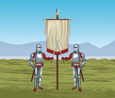 Medieval warriors vector illustration graphic design Illustration