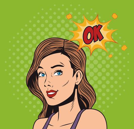 Woman with bubble pop art vector illustration graphic design Illustration