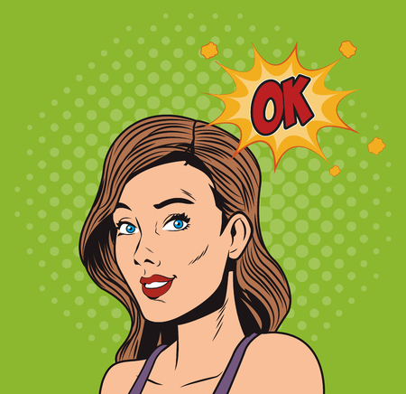 Woman with bubble pop art vector illustration graphic design Ilustração