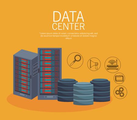 Data center equipment and technology vector illustration graphic design