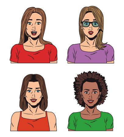 Fashion womens pop art cartoon vector illustration graphic design Illustration