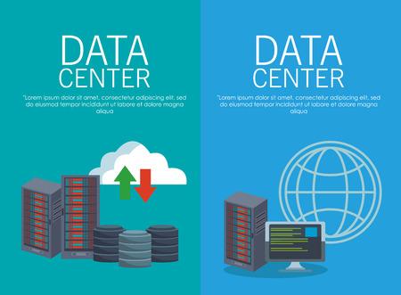 Data center collection concept vector illustration graphic design
