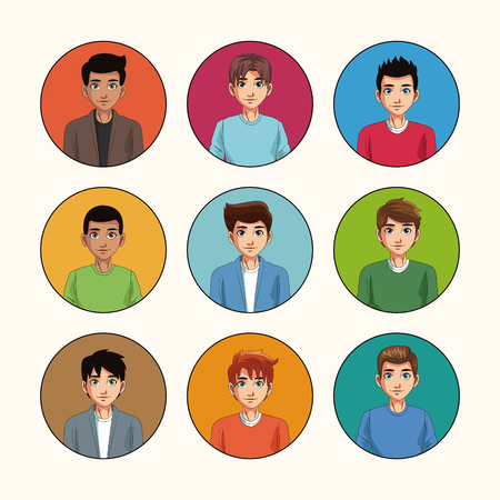 Young men cartoon on round icons vector illustration graphic design