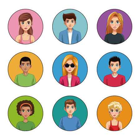 Young people cartoon round icons vector illustration graphic design