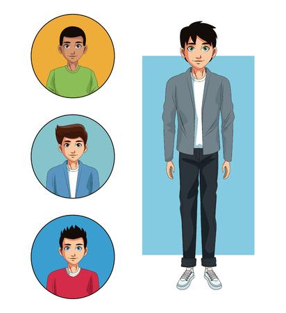 Young men cartoon vector illustration graphic design Vectores