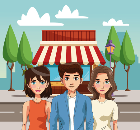 Young people cartoon vector illustration graphic design Vectores