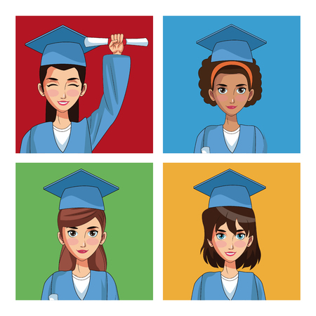 Young students in graduation cartoons colorful squares vector illustration graphic design