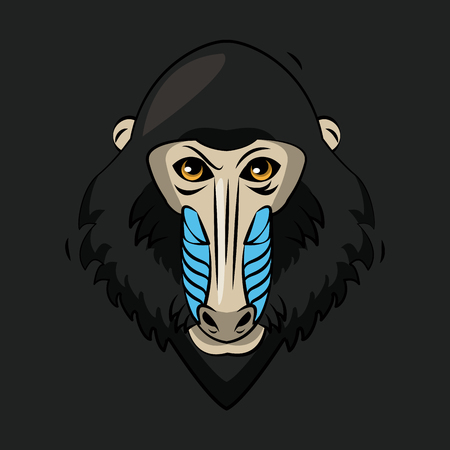 Mandrel monkey cartoon print for t shirt vector illustration clothing design