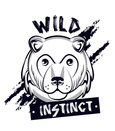 Wild bear print for t-shirt vector illustration clothing design Illustration