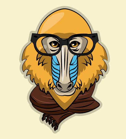 Cool wild Mandrel monkey cartoon vector illustration clothing design Vectores