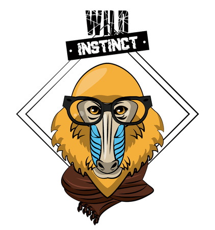 Hipster wild Monkey mandrel print for t-shirt vector illustration clothing design Vectores