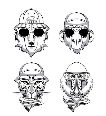 Hipster wild animals cartoon vector illustration clothing design