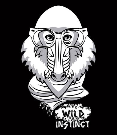 Hipster wild Monkey mandrel print for t shirt vector illustration clothing design Vectores