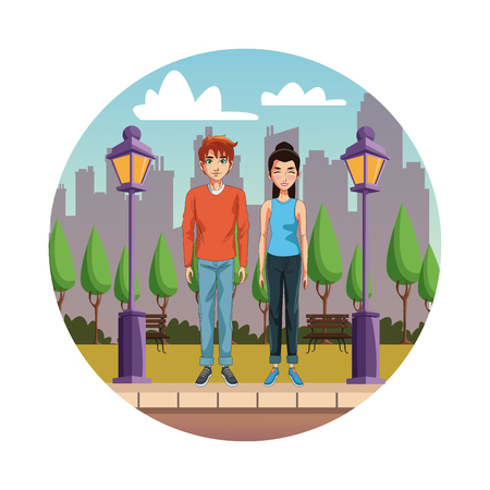 Young couple cartoon in the city round icon vector illustration graphic design Çizim