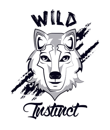 Wild wolf print for t shirt vector illustration clothing design Stock Illustratie