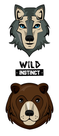 Wild wolf and bear print for t shirt vector illustration clothing design