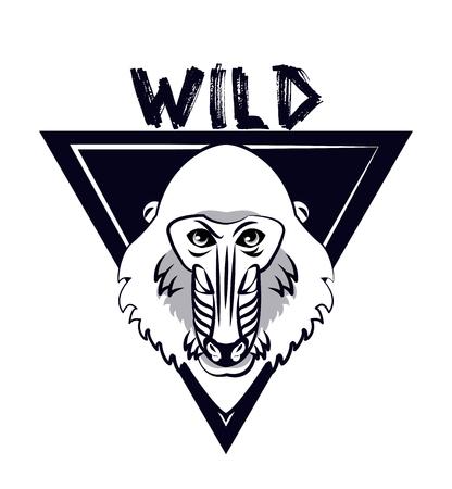 Wild mandrel monkey print for t shirt vector illustration clothing design
