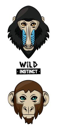 Wild monkeys print for t shirt vector illustration clothing design