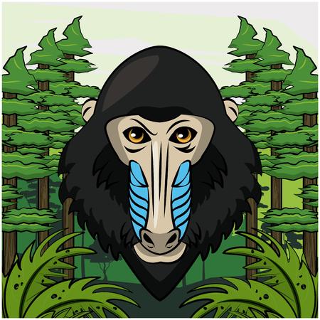 Wild mandrel monkey print for t shirt vector clothing design
