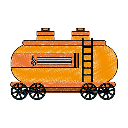 Natural gas tank on train wagon vector illustration graphic design