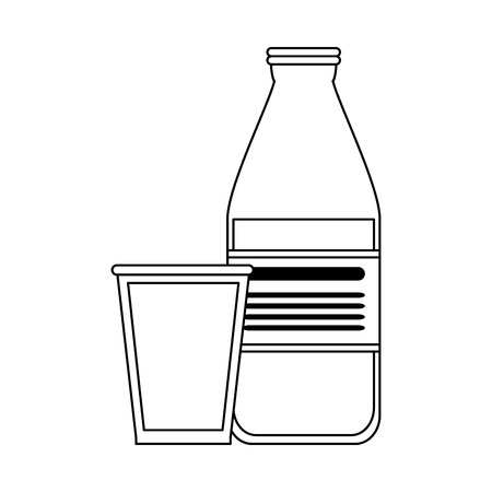 Milk glass bottle vector illustration graphic design 向量圖像