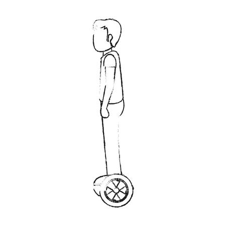 Man on hoverboard vector illustration graphic design Ilustração