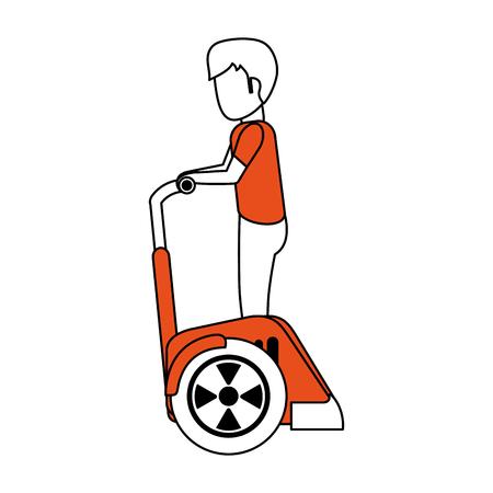 Man on two wheels electric scooter vector illustration graphic design Ilustração