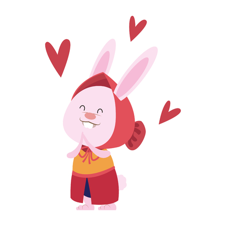 Cute rabbit with coat in love icon vector illustration graphic design