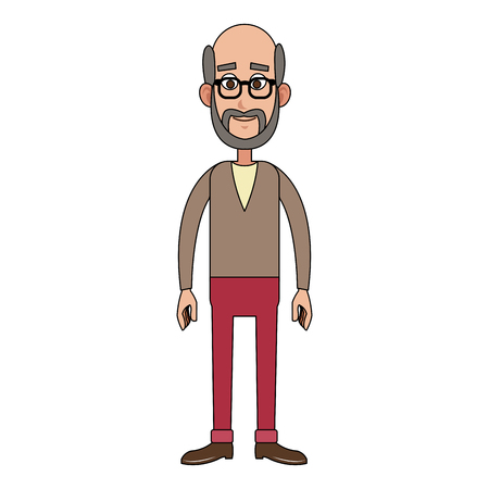 Old man smiling cartoon icon vector illustration graphic design