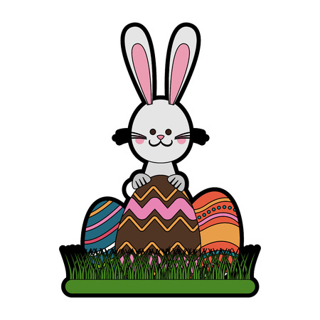 Cute rabbit with easter eggs cartoon vector illustration graphic design