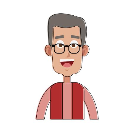 Old man smiling cartoon vector illustration graphic design