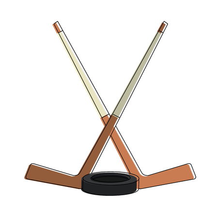 Hockey stick with puck vector illustration graphic design