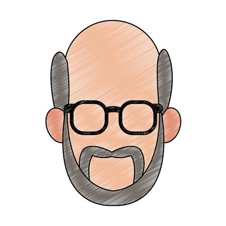 Old man faceless with glasses icon vector illustration graphic design  イラスト・ベクター素材